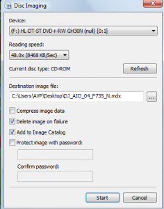 Various settings before making a disc image using Daemon Tools Lite