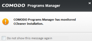 Newly installed program monitored by Comodo Programs Manager