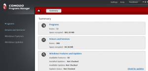 Comodo Programs Manager interface
