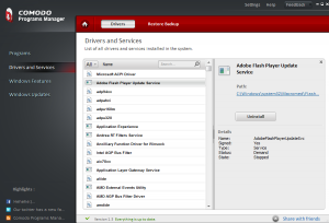 Drivers and services in Comodo Programs Manager