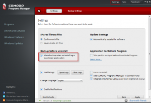 Settings for Comodo Programs Manager