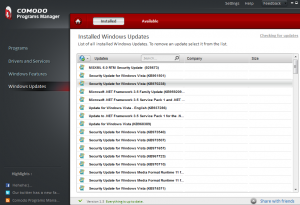 Windows Updates in Comodo Programs Manager