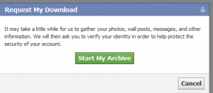 Archiving Facebook data popup