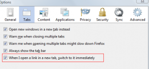 Switch to new tab automatically when using Firefox