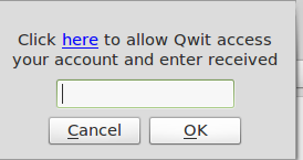 OAuth pin box in Qwit