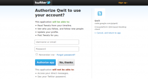 Allowing Qwit to access Twitter account using OAuth
