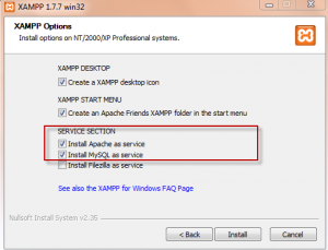 Selecting services to install in XAMPP
