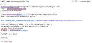 Link and confirmation code for activating Gmail forwarding