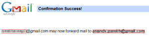 Email forwarding completed in Gmail