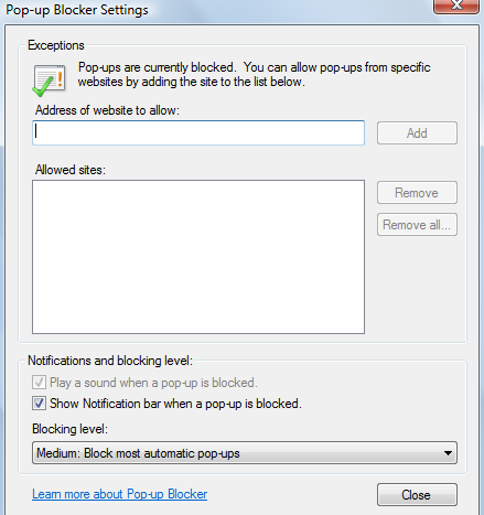 Allowing pop-ups for selected websites in IE9