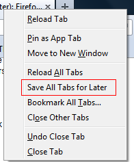 Saving open Firefox tabs for later viewing using Read It Later