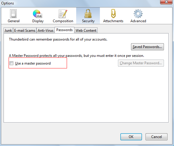 Enabling master password in Thunderbird