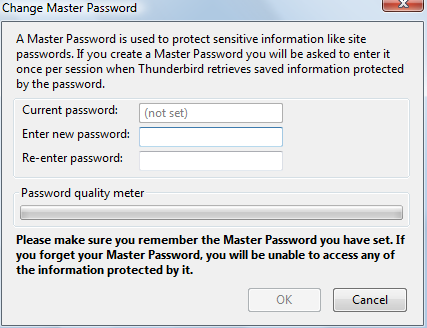 Setting master password in Thunderbird