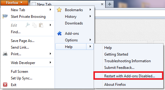 How To Restart Mozilla Firefox 13 With Add-ons Disabled