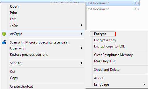 Encrypting files with AxCrypt