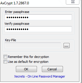 Passphrase for encrypting files