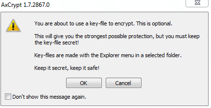 Using a key file for encryption