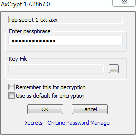 Passphrase for decrypting
