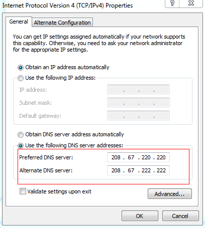 Configured DNS server IP addresses
