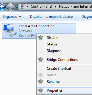 Common way of modifying properties of network connections in Windows