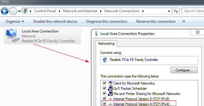 Network adapter properties in Windows