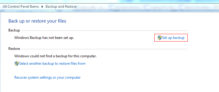 Making a new backup in Windows 7