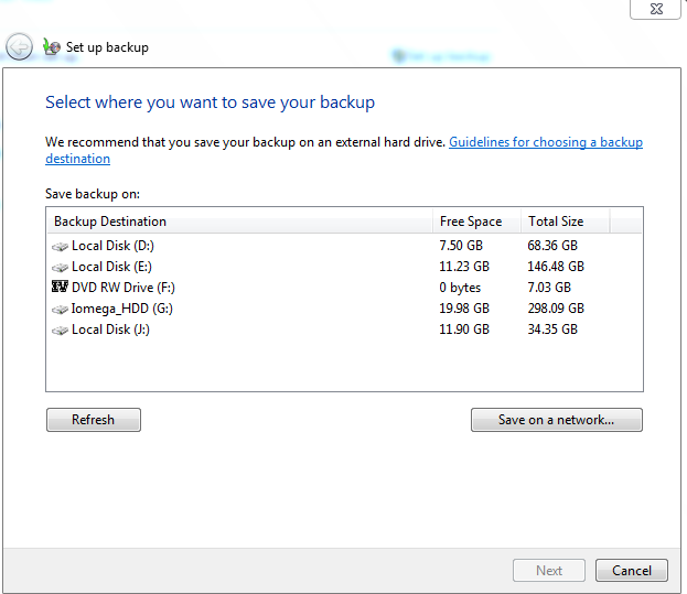 Choosing a backup location in Windows 7