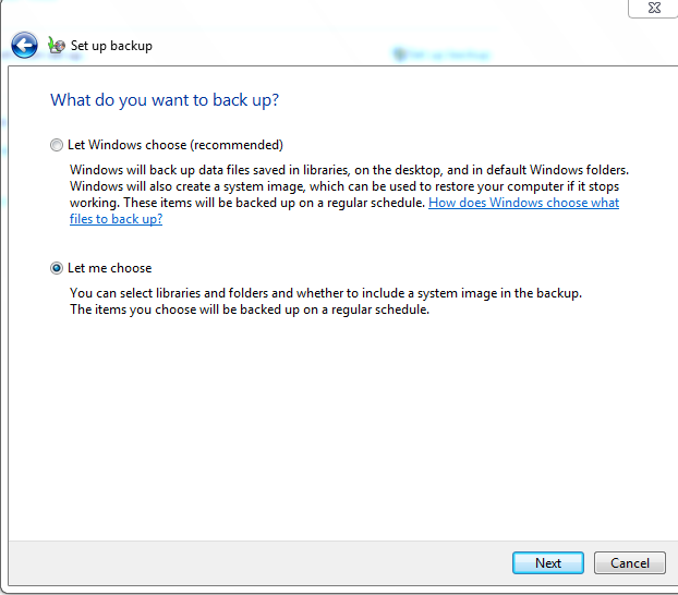 Customizing backup settings in Windows 7