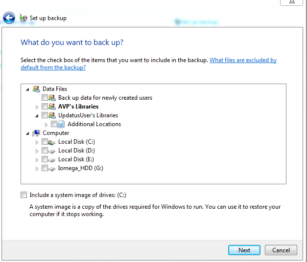 Selecting specific folders for backing up in Windows 7