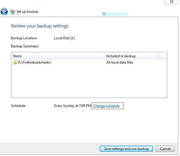 Changing schedule options in Windows 7 backup settings