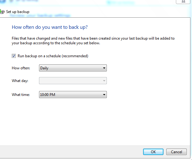 Setting schedule for backups in Windows 7