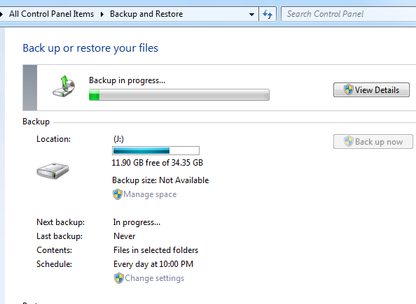 Backup being run in Windows 7