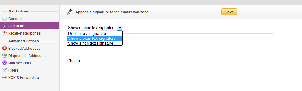 Adding a signature in Yahoo! mail