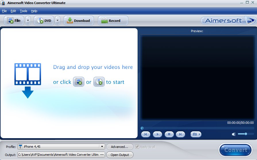 Aimersoft Video Converter Ultimate main interface