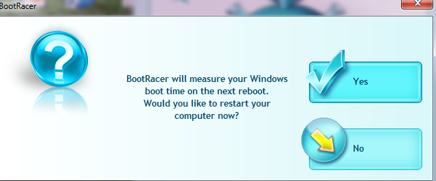 BootRacer dialog box