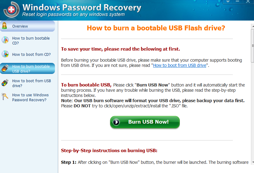Creating bootable USB drive for password recovery