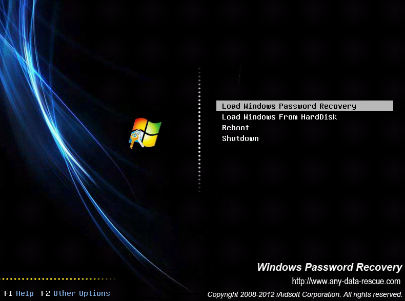 Booting through the Windows password recovery USB drive