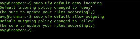 Setting default ufw policy