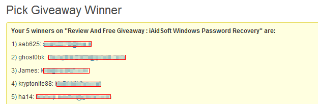 iAidSoft Windows Password Recovery giveaway winners