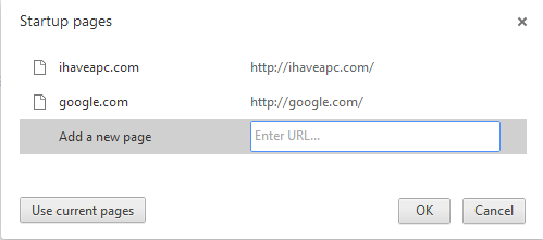 Entering web addresses for multiple home pages in Google Chrome