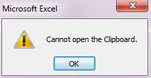 Excel 2010 clipboard error