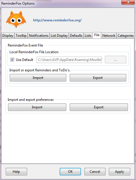 Import and export reminders in ReminderFox