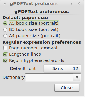 Preferences in gPDFText ebook editor