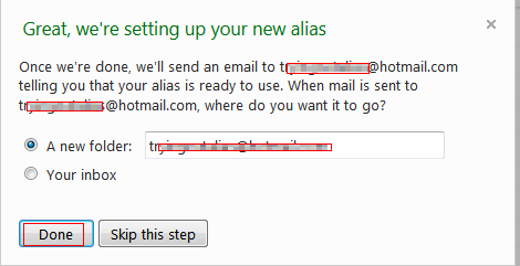 Setting up folder for email alias