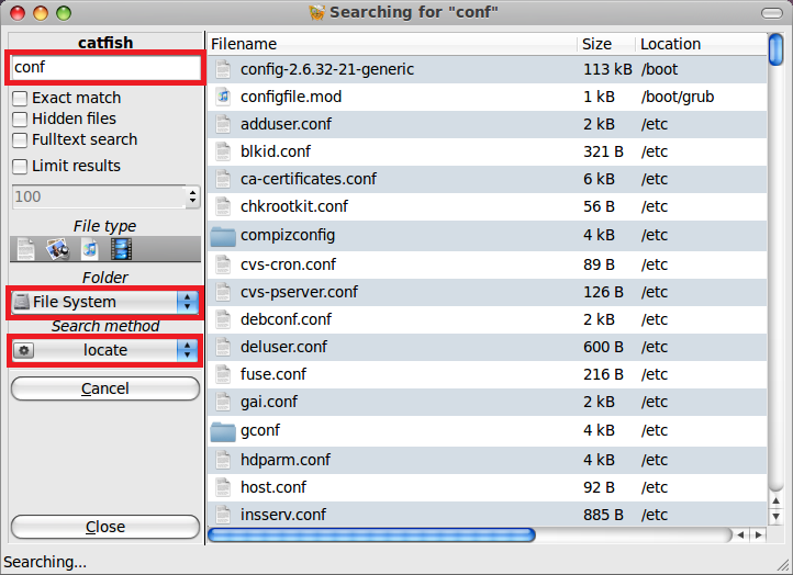 Search select the search method you want to use type in the file
