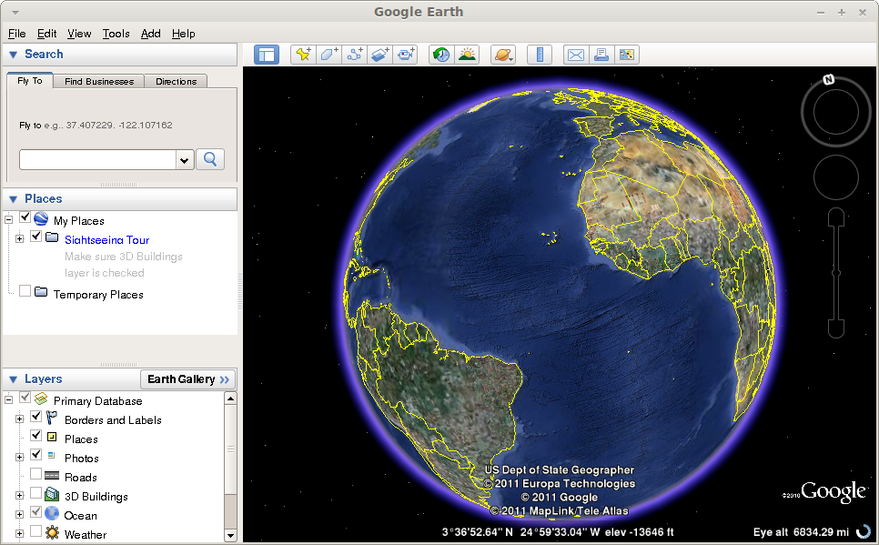 Google Earth running in Linux Mint / Ubuntu