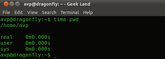 Time taken to execute pwd command from terminal