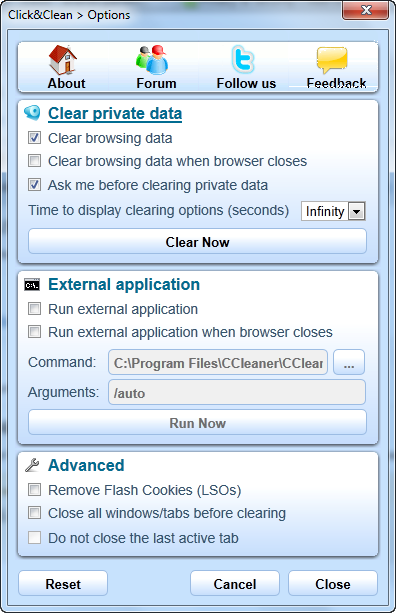 Preferences in Click&Clean