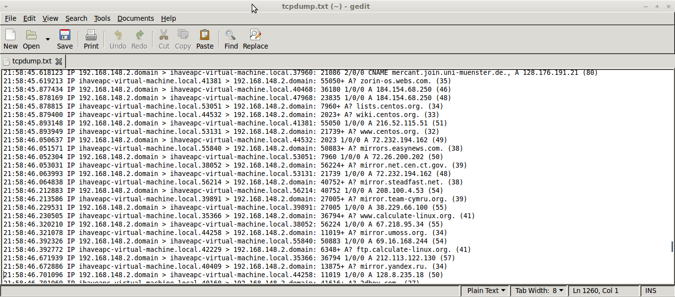 tcpdump output in linux mint / ubuntu