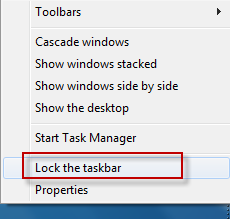 Unlock the Windows taskbar